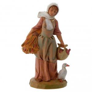 Paysanne avec blé et oie crèche Fontanini 12 cm s1