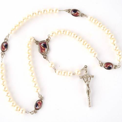 Pearled rosary with images (14 diam) s5