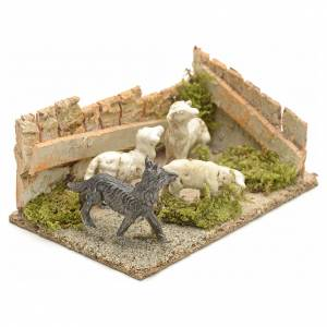 Animali presepe: Pecore con cane: ambientazione presepe 8-10 cm
