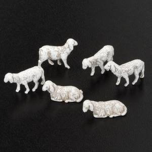 Animali presepe: Pecorelle per presepe 10 cm 6 pz