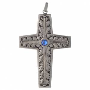 Pectoral cross chiseled silver-plated copper with blue stone s1