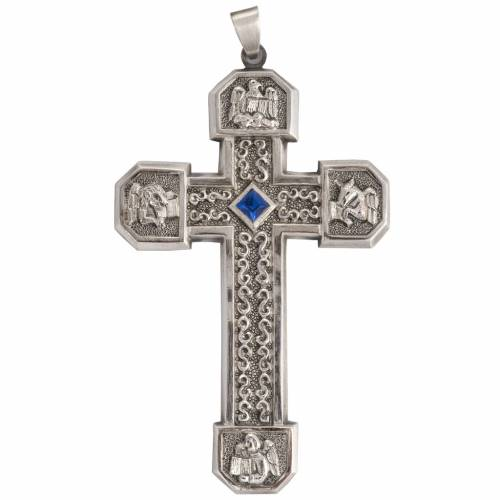 Pectoral cross in chiselled silver copper with blue stone s1
