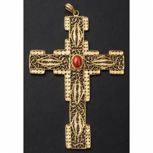 Pectoral Cross in golden silver filigree with coral stone s4