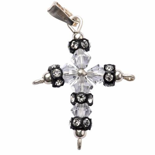 Pendant cross in silver and Swarovski 2,5x3,5 cm s1