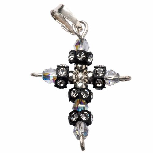 Pendant cross in silver and Swarovski 2x3 cm s1
