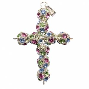 Pendant cross, multicoloured Swarovski ball diam. 0,24in s1