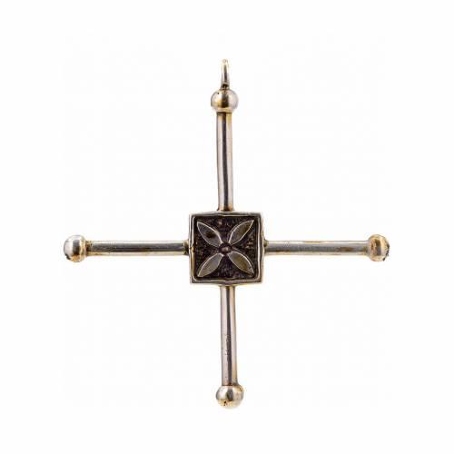 Pendant cross Saint Geminianus in sterling silver 7,2x6,6cm s1