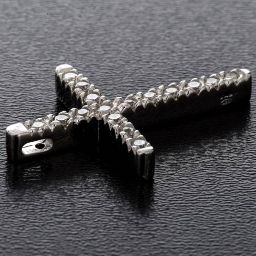 Pendant cross, sterling silver and rhinestones 3cm s3