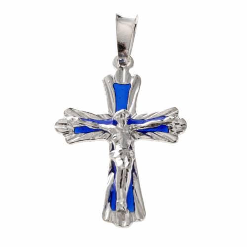 Pendant cross with blue enamel in sterling silver s1