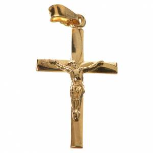 Pendant crucifix in gold-plated 800 silver 2x3 cm s1