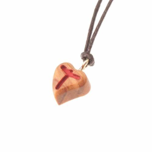 Pendant heart  red tau cross s1