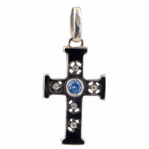 Pendant Romanesque cross, sterling silver, stone, oxidised finis s1