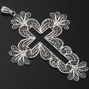 Pendente croce filigrana arg. 800 decori fiori - gr. 15,2 s2