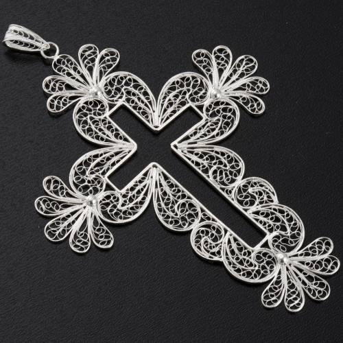 Pendentif croix filigrane argent fleurs 15,2 gr s2