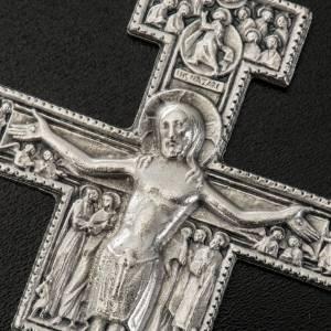 Pendentifs croix métal: Pendentif croix St Damien métal argenté 8.5 cm