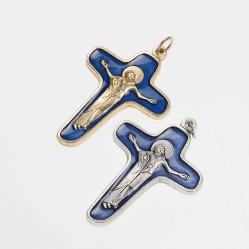 Pendentif Crucifix métal vernis bleu, vierge et Christ 47 s1