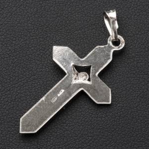 Pendentif crucifix rayé argent s3