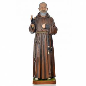 Père Pio en fibre de verre peinte 175 cm s1