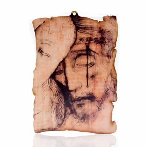 Petit tableau en bois visage de Christ parchemin s1