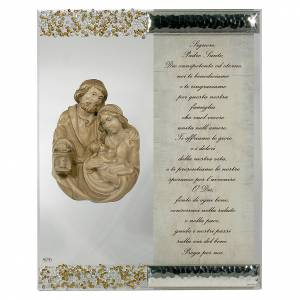Bonbonnière: Picture with sculpture of Holy Family in silver and crystal with prayer