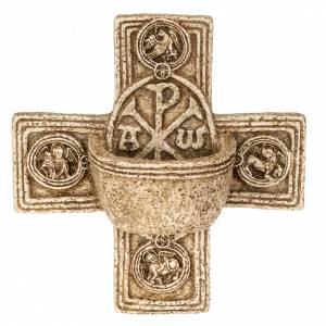 Pila de agua bendita: Pila de agua bendita forma cruz de piedra Bethléem