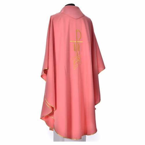 Pink Chasuble in polyester with Chi Rho and Loaves and Bread s3