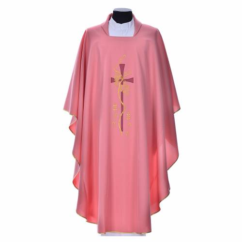 Pink chasuble with cross embroidery s1