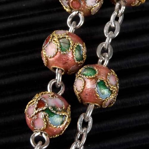 Pink cloisonné rosary s5