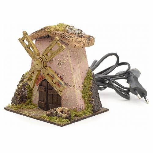 Pink wind mill for nativities 13x11x12cm s2