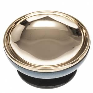 Pisside ceramica ottone dorato color turchese s3