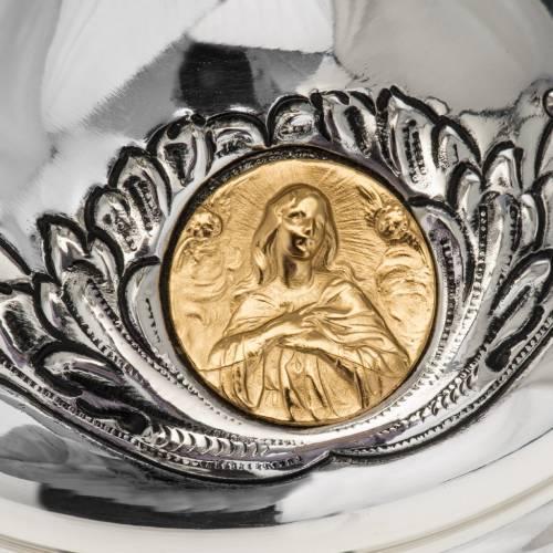 Pisside Molina ottone argentato con Maria, Gesù, Giuseppe s3