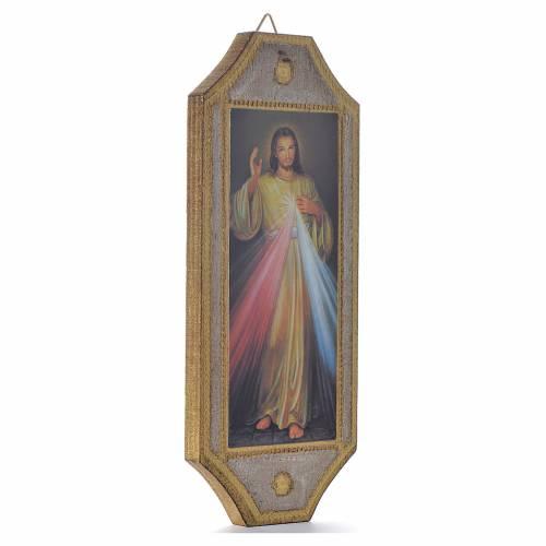 Planche taillée en bois Christ Miséricordieux 18,5x7x5 cm s2