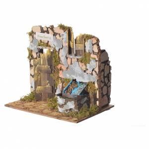 Poissonnerie crèche avec fontaine 18x20x14cm s2