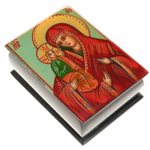 Porta rosario ícono pintado Virgen con el Niño s1