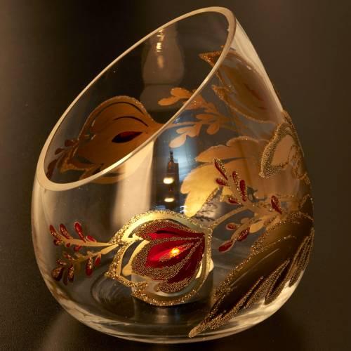 Portacandela natalizio bicchiere tagliato vetro s5