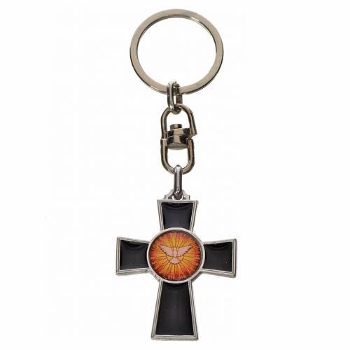 Portachiavi croce Spirito Santo zama smalto nero s1