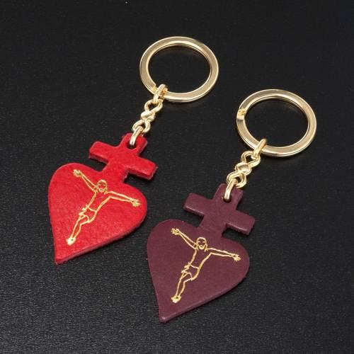 Portachiavi cuore Cristo cuoio S.Antonio Padova s2