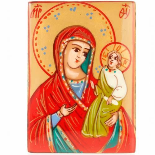 Portarosario icona dipinta Vergine con bimbo s2