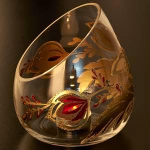 Porte bougie de Noel en verre décorations dorées s5