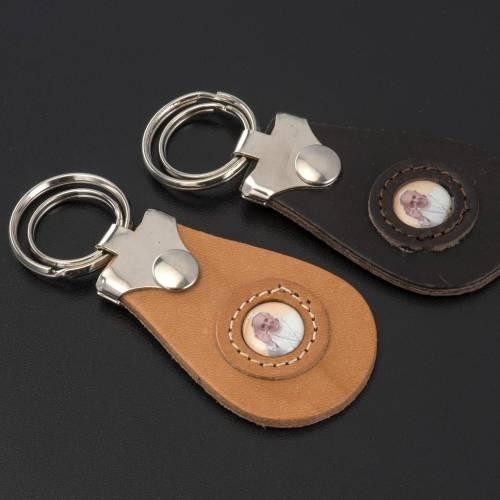 Porte clé cuir image Pape Francois s2