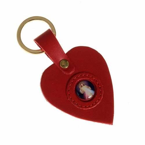 Porte-clefs coeur cuir Divine Miséricorde s2