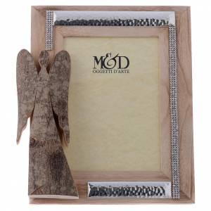 Bonbonnières: Porte-photo en bois argent et strass ange écorce 25x21 cm