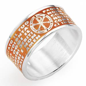 Prayer ring AMEN, Our Father, in orange enamel s1