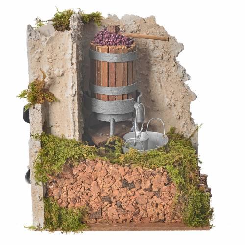 Pressoir avec pompe miniatures crèche 15x10x15 cm s3