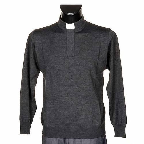 Priesterpolo Langarm dunkel grau s1