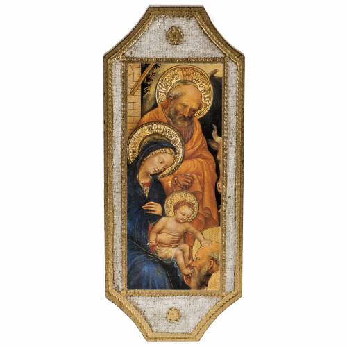 Print on wood, Nativity with white frame 18.5x7cm s1