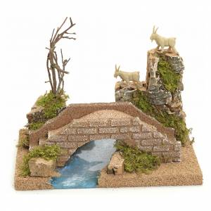 Puente sobre río con cabra: ambiente belén s1
