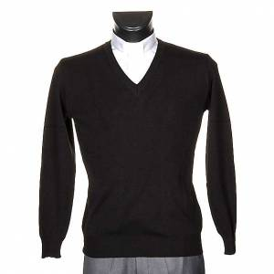 Vestes, gilets, pullovers: Pullover, ouverture en V,noir