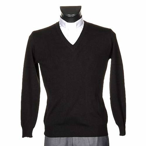 Pullover, ouverture en V,noir s1