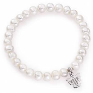 Pulseras AMEN: Pulsera AMEN Ángel perlas redondas Plata 925 6/7 milímetros.